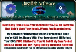 UnselfishSoftware.com  - Software That Plain Simple Works Pays Out 50% Affiliate Commission