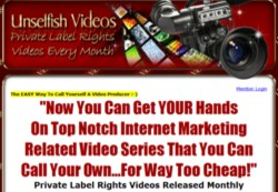 UnselfishVideos.com  Membership Pays 75% Recurring Affiliate Commissions